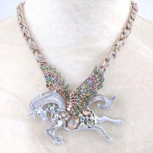 Betsey Johnson Unicorn Pegasus Statement Necklace